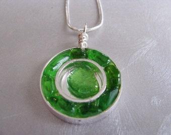 Genuine Sea Glass Kelly Green Sea Glass Pendant - Silver Circles - Sea Glass Necklace -Beach Glass Jewelry - Prince Edward Island Gifts