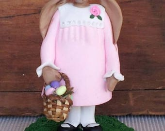 """hand sculpted polymer clay """"Miss Rose"""" with Easter egg basket"""