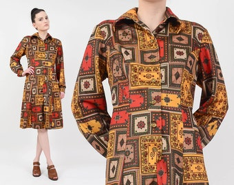 70s Turkish Rug Print Dress | size M L | Ethnic Novelty Print Collared Button Down Long Sleeve Shirt Dress | Orange Gold Brown Medium Large