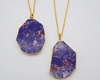 Jasper Necklace Purple Stone Necklace Slice Pendant Gold Dipped Jewelry Boho Stone Pendant Colorful Necklace Gold Edged