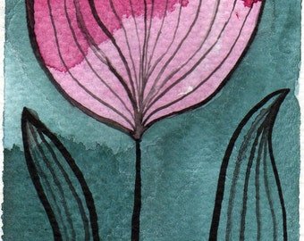 Watercolor Painting: Watercolor Flower Painting -- Mini Art Print -- Pink Stripey Flower -- ACEO Print
