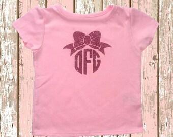 Glitter Bow Monogram Shirt