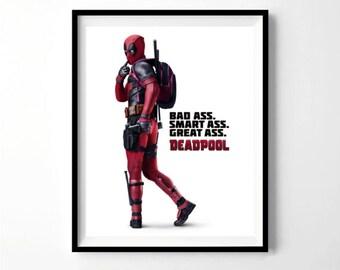 Deadpool Poster, Deadpool party, deadpool 2 print, avengers poster, kick ass, bad ass, smart ass deadpool print, movie decor, movie theater