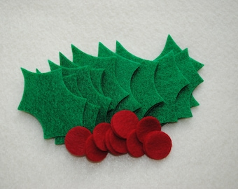 36 Piece LARGE Die Cut Felt Holly and Berries, Pirate Green