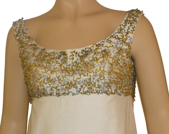 1960's Beaded Ivory Silk Gown with Swag Back