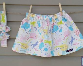 Skirt and headband - set - girl (baby & child) - unicorns / Skirt and headband - set - girl (baby and toddler) - Unicorns