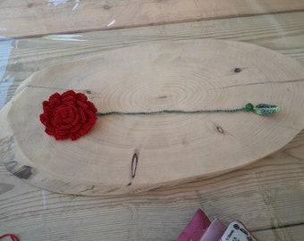 Crocheted Rose bookmark  סימניית ורד האהבה עם חרוז