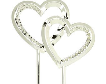 Wedding Cake Topper Silver Heart Reception Decorations Supplies