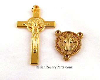 St Benedict Gold Tone Rosary Crucifix and Medal Set | Italian Rosary Parts