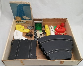"""Vintage 1960s ELDON E 1/32"""" Slot Car Set - Partially Complete, lots of great parts to complete your set!"""