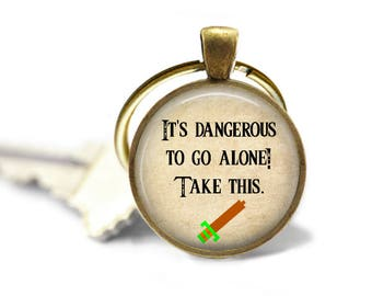 It's Dangerous to Go Alone, Take This - Zelda Quote Pendant Necklace or Key Chain - Choice of 4 Colors - Video Game, Sword, Link