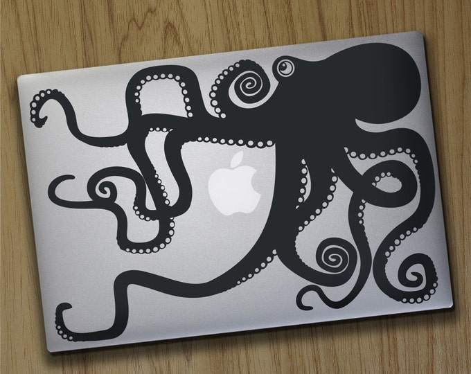 Octopus macbook decal, macbook pro sticker, macbook air decal, tentacles, octopus design