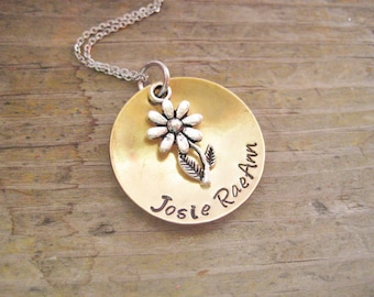 PERSONALIZED NAME NECKLACE - Custom Name Necklace, Daisy Necklace, Personalized Name Jewelry, Custom Name Jewelry, Daisy Jewelry