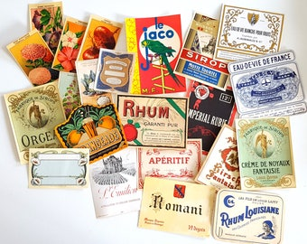 Set of 22 vintage French labels on paper Never used No reprint Not digital downupload !