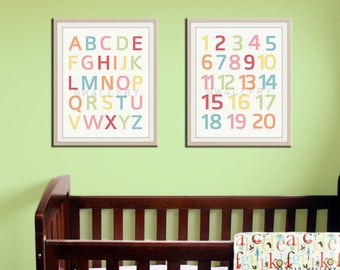 Modern Alphabet and numbers prints choice of colors. Nursery art ABC poster. Children wall art SET OF 2 prints. Alphabet prints by WallFry