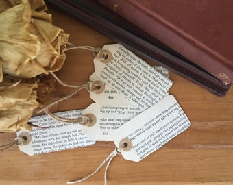 Vintage Book Tags with Jute Twine set of Five