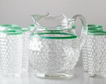 Vintage Bubble Glass Pitcher with 8 Bubble Glass, Glasses