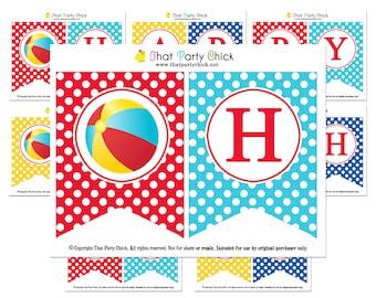Beach Ball Birthday Banner Printable - Instant Download - Splish Splash Collection