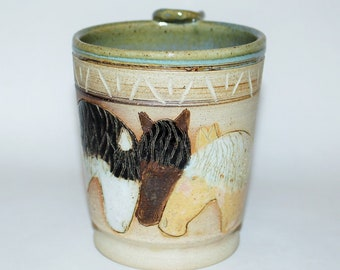 Pottery Horse Mug Handmade Stoneware Gift For Her, Gift For Him