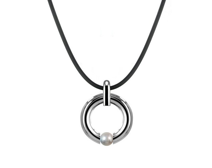White Pearl Tension Set Necklace in Stainless Steel