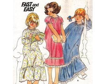 Fast & Easy Girls Nightgown 3 Lengths Vintage 1970s Butterick Sewing Pattern 5067 Size 6 Breast 25 Ruffle Hem Elastic Neckline