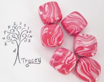 Beads, Pink White Swirl Square Handmade Polymer Clay Beads