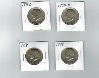 Lot of 4 1970s Kennedy half dollars 2- 1974- 1971-D and 1972-D