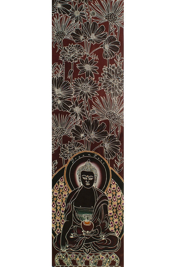 Mens Buddha and flowers hand painted fashion silk scarf