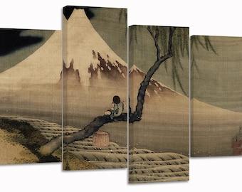"Katsushika Hokusai , boy viewing mount fuji /set of 4 new split canvas prints/ 32""x 20"""