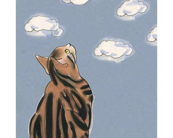"""Cat illustration - Cat print -  Cloudscapes  - 4"""" X 6"""" print - 4 for 3 sale"""