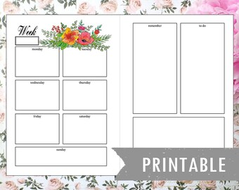 Printable weekly planner florar (English)