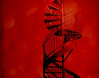 Montreal Art Cherry Red Bright Red Architecture Photography Spiral Staircase Architectural Red Decor Photo - Cherry Twist