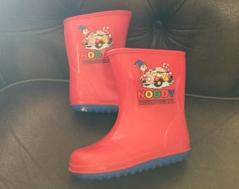 Vintage children's noddy Wellington boots size 8 in red