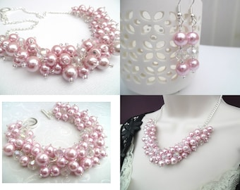 Pink Pearl and Crystal Beaded Jewelry Set, Necklace Bracelet and Earrings, Cluster Jewelry, Pink Wedding Sets, Bridesmaids Gifts, Chunky