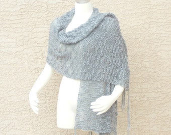 Hand Knit Handmade Cotton Summer Shawl Wrap Airy Art Yarn Medium Grey