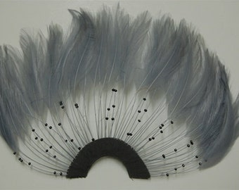 Silver Grey Hackle Pinwheel with Beads