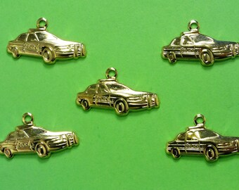 LOT 5 METALS CHARMS Gold: car 19mm