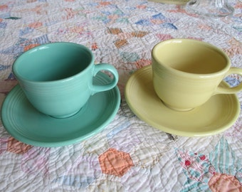Vintage Fiesta Ware - Homer Laughlin - Cups and Saucers