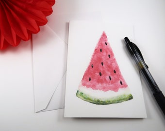 Watermelon Watercolor Greeting Card - watercolor summer treat greeting card