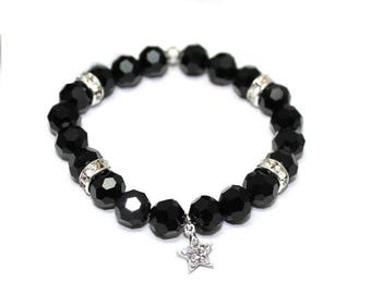 Womans black Stretch bracelet, Jet Black, sterling silver, cubic zirkonia, rocker, boho, boheme, elegant, modern, beaded - Free shipping!