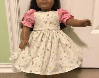 Fun spring dress with pink sleeves for American Girl or Other 18 inch Doll