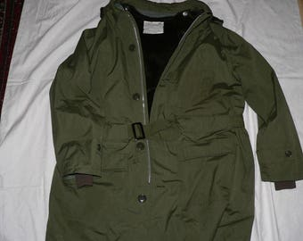 Vintage 1970s men's belted military style parka XXL removable hood