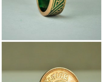 Green Thai Coin Ring, Wave Ring, Ray Ring, Thailand Coin ring, Coin Art, Thai Art, Thailand art, Green Ring, Bronze Ring, Coin Ring, Bronze