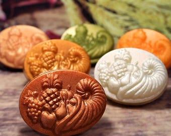 Cornucopia Soap, Thanksgiving Harvest Soap, Fall Bath Decor, Harvest Festival Soap, Fall Wedding Favor, Autumn Decor, Cornucopia Decor Soap