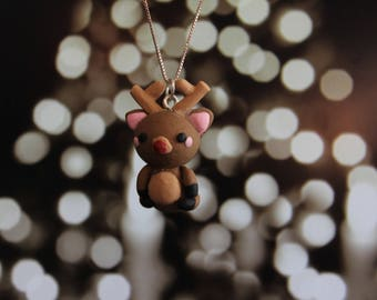 Reindeer Rudolph Polymer Clay Charm