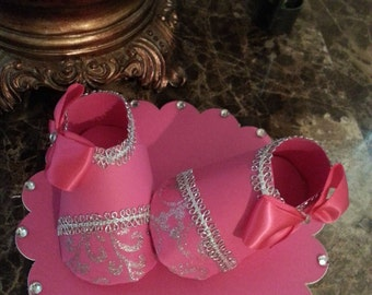 Hot Pink Baby Girl Shoe Cake Topper / Shoe Cake Topper