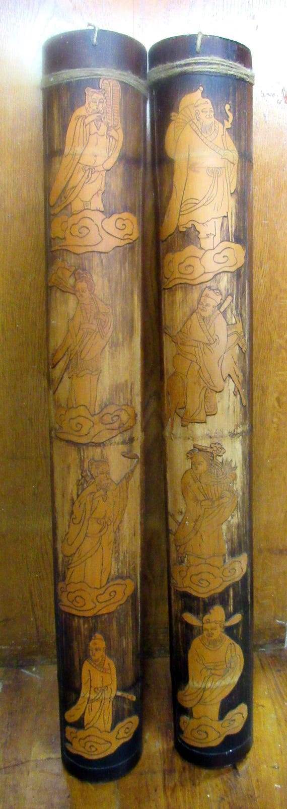 Asian Bamboo wall hangings hand carved pair