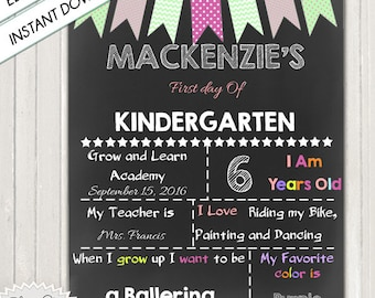 FIRST DAY of SCHOOL - Customized Chalkboard Sign with Pennants / 1st Day of .../ 8x10 or other size / 300 dpi / Instant Download