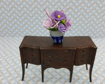 Renwal Dining room  Furnishings brown Sideboard  and flowers  Doll House Toy  Plastic