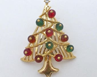 Red and Green Crystal Christmas Tree Pin